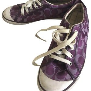 COACH Jacquard Purple All Over Logo Sneakers Size